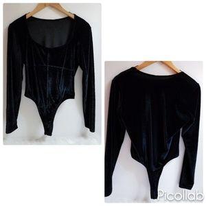 Shirley of Hollywood Black Velvet Bodysuit